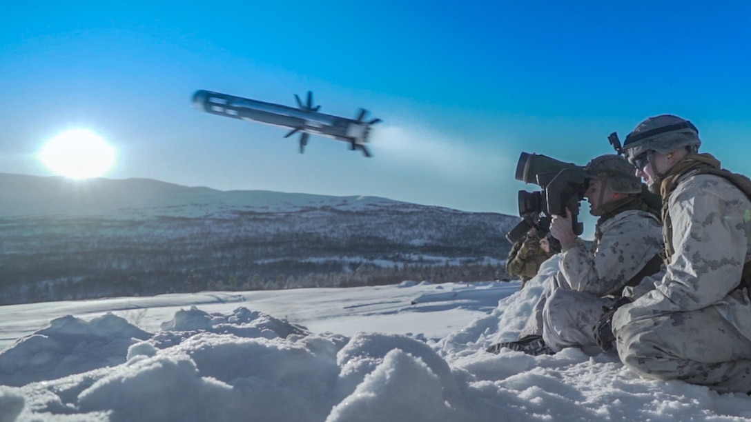 A U.S. Marine fires an M98A2 Javelin missile system during a live-fire exercise near Setermoen, Norway, March 3.
