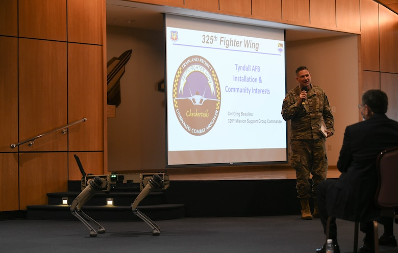 U.S. Air Force Col. Gregory Beaulieu, 325th Mission Support Group commander, speaks at a briefing at Tyndall Air Force Base, Florida, April 23, 2021. Leaders from the 325th Fighter Wing, First Air Force, and the Tyndall Program Management Office hosted a State of Tyndall update for local community leaders April 23 at Tyndall AFB. (U.S. Air Force photo by Airman 1st Class Anabel Del Valle)