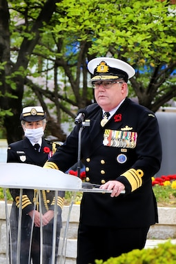 United Nations Command Deputy Commander Vice Admiral Mayer, of the Australian Navy, speaks at the Battle of Gapyeong memorial service in Gapyeong, South Korea.  This year marks the 70th anniversary of the battle of Gapyeong and UNC personnel were honored to observe and participate in the memorial ceremonies held in Gayeong Valley.