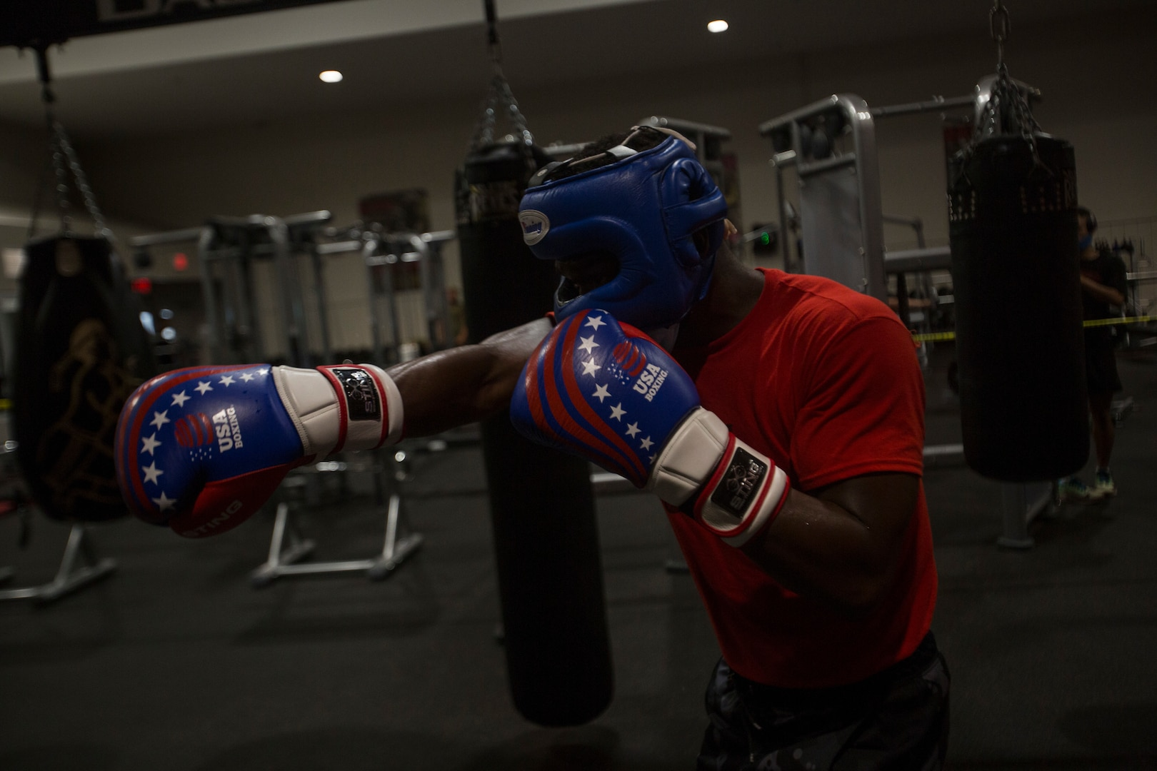 A U.S. Marine Corps boxer practices fighting techniques on Marine Corps Base Camp Lejeune, N.C., April 20.