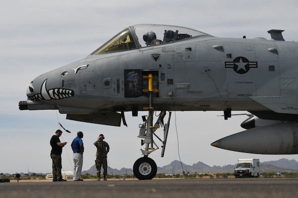 Operational test personnel from the Air National Guard Air Force Reserve Command Test Center conduct a ground check following the first field test of the LITENING Digital Port Plug-n-Play 3+ on the A-10 Thunderbolt II at Davis-Monthan Air Force Base, Arizona, April 14, 2021.