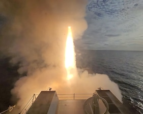 USS John Finn (DDG 113) launches a missile during U.S. Pacific Fleet's Unmanned Systems Integrated Battle Problem.