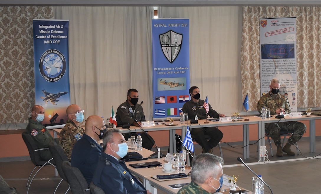 Commanders attending the Command and Control Commanders Conference listen to a briefing about exercise Astral Knight 21 in Chania, Crete on April 20, 2021. The C2CC was created to provide a venue for commanders across the area of operations to collaborate, bringing their ideas, experiences, and discussions to the table to get a big picture of what to expect during AK21.