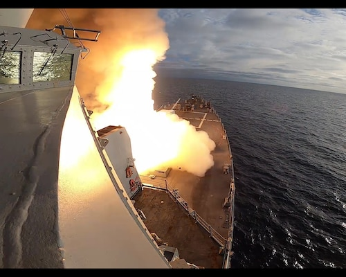 USS John Finn (DDG 113) launches a missile during U.S. Pacific Fleet's Unmanned Systems Integrated Battle Problem (UxS IBP) 2.
