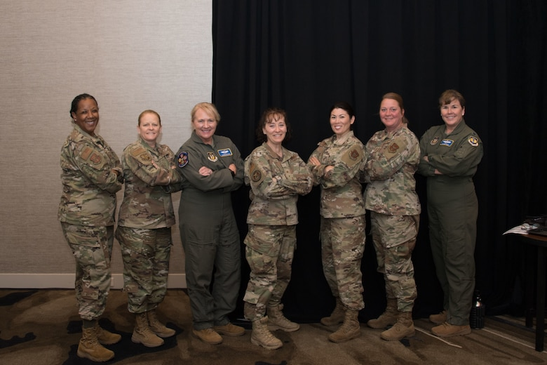 Leaders from across 10th Air Force pose for a picture with Brig Gen Lisa Craig, Air Force Recruiting Service Deputy Commander, during the 2021 Commanders and Command Chiefs Conference in downtown Fort Worth, Texas.
