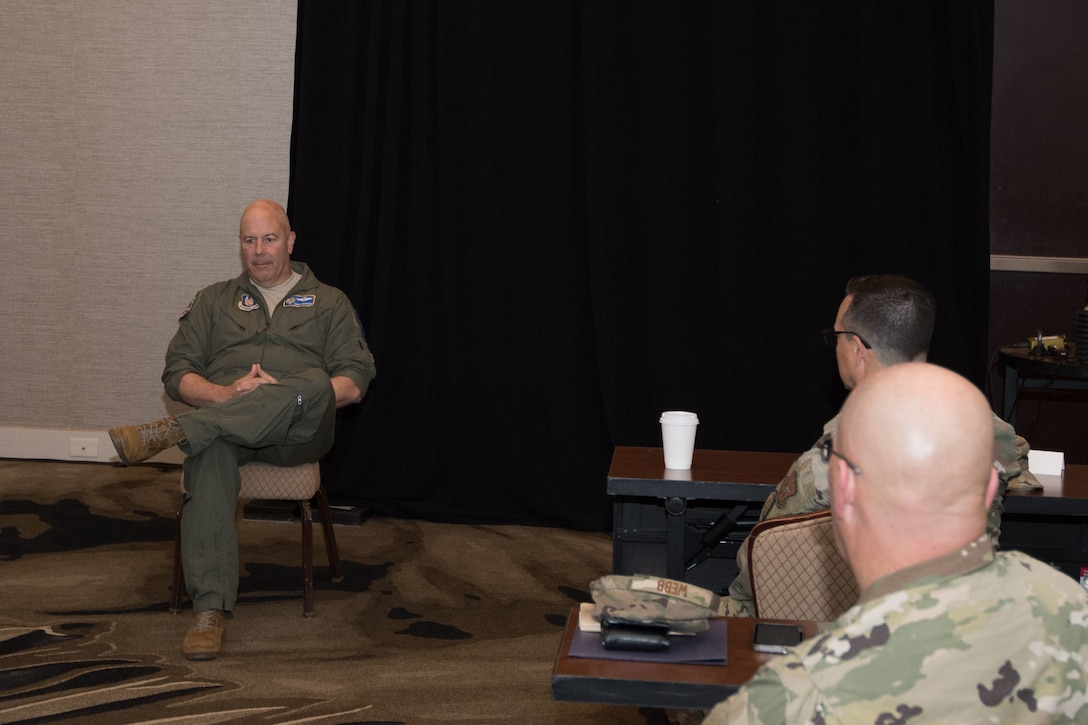 Maj Gen Brian Borgen speak to 10th Air Force command chiefs separately, allowing pointed conversations on matters impacting the units.