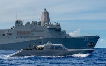 Naval Special Warfare combatant craft conduct maritime interoperability training USS San Diego (LPD 22).