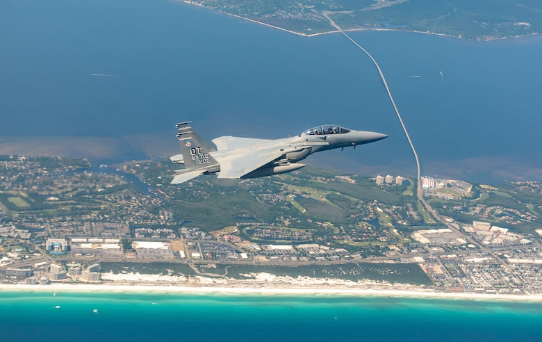 F-15EX flies over the beaches outside of Eglin Afb