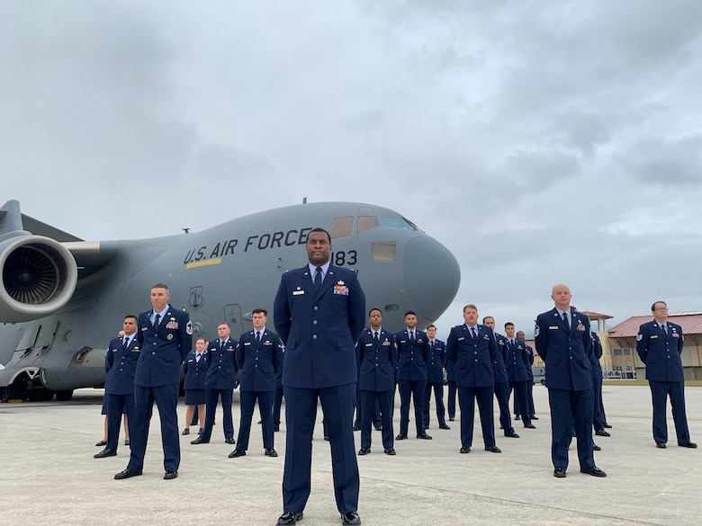 The 724th Air Mobility Squadron poses for a photo at Aviano Air Base, Italy. The 724th Air Mobility Squadron, an Air Mobility Command tenant unit at Aviano Air Base, was named the 2020 Air Force Small Terminal Unit of the Year March 16, 2021, for their accomplishments October 2019 to September 2020. (Courtesy Photo)