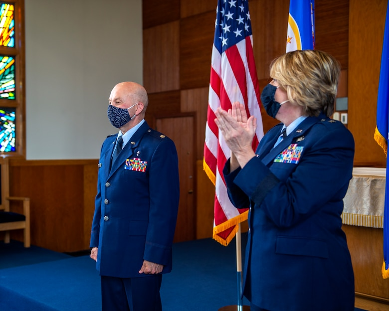 U.S. Air Force Ch. (Lt. Col.) Daniel Pulju is promoted to the rank of Colonel in St. Paul, Minn., Apr. 18, 2021.