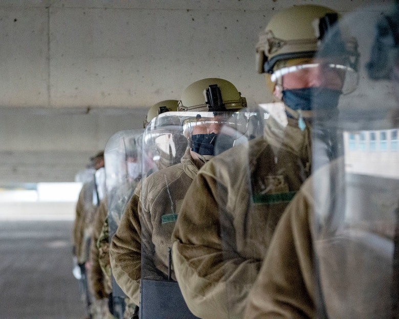 U.S. Air Force Airmen from the 133rd Airlift Wing and U.S. Army National Guard Soldiers participate in civil disturbance control training strengthening partnerships between local law enforcement and the Minnesota National Guard in St. Paul, Minn., April 20, 2021.