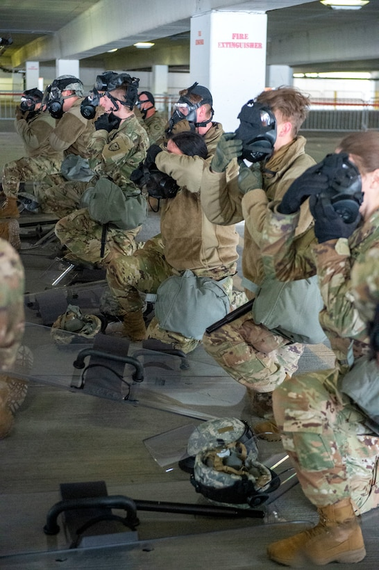 U.S. Air Force Airmen from the 133rd Airlift Wing and U.S. Army National Guard Soldiers participate in civil disturbance control training to strengthen partnerships between local law enforcement and the Minnesota National Guard in St. Paul, Minn., April 20, 2021.