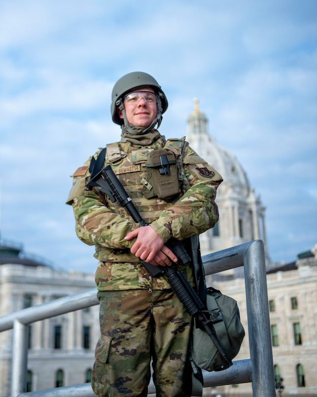 U.S. Air Force Airmen, Airman 1st Class Graham Seminari from the 148th Fighter Wing supports security missions during Operation Safety Net in St. Paul, Minn., Apr. 20, 2021.