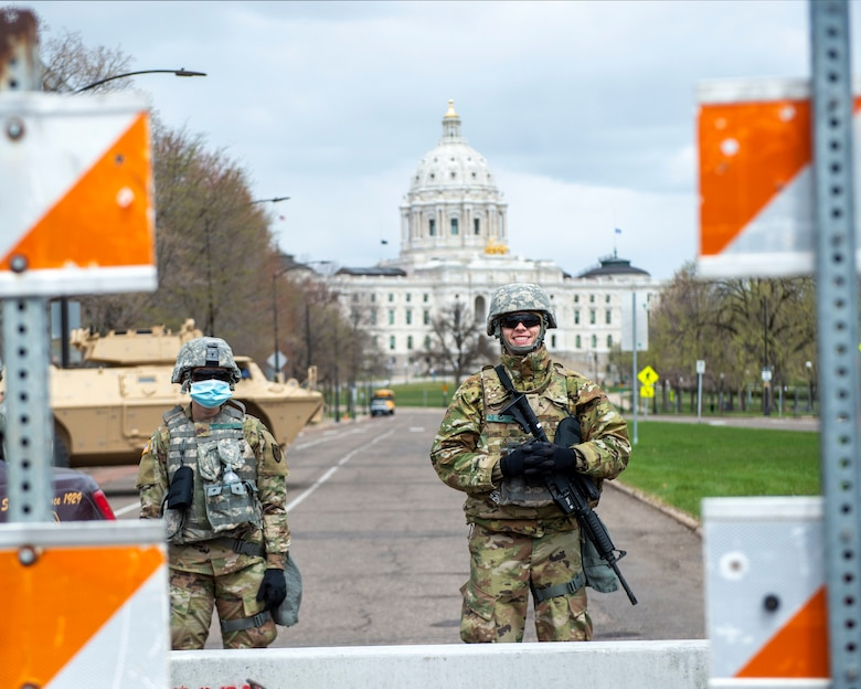 U.S. Air Force Airmen support security missions during Operation Safety Net in St. Paul, Minn., Apr. 20, 2021.