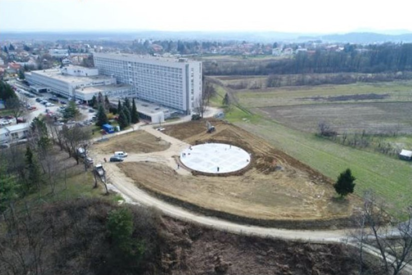 View of work on a new helicopter landing zone at the primary hospital in Karlovac, Croatia in March 2021