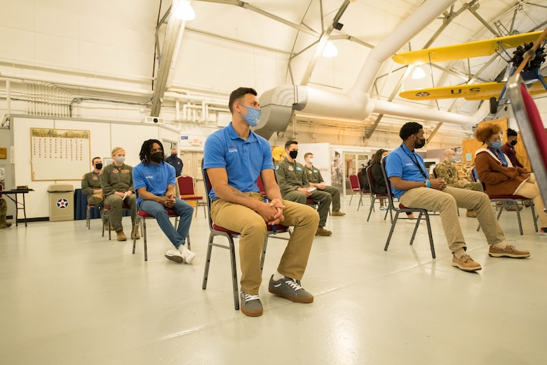 Delaware State University students and 436th Airlift Wing pilots listen to opening remarks by Col. Matthew Jones, 436th AW commander, during an aviation mentorship kickoff event at the Air Mobility Command Museum on Dover Air Force Base