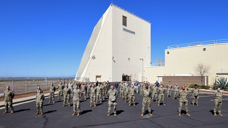 Space Delta 4 leadership stands in formation with members of the 7th Space Warning Squadron at Beale Air Force Base, Calif., March 30, 2021.
