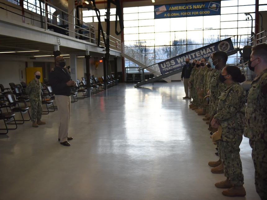 GREAT LAKES, Ill. (Apr. 1, 2021)  Surface Warfare Engineering School Command (SWESC) Great Lakes Command Master Chief Demetric M. Hairston talked to the staff at Boatswain's Mate A School and Surface Common Core during a ball capping ceremony held at the USS Whitehat, were SWESC officially completed the transition of the schools from Center for Surface Combat Systems Unit Great Lakes. (U.S. Navy photo by Matt Mogle/Released)