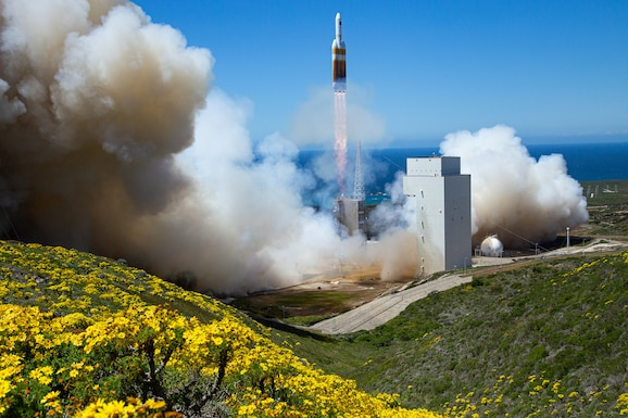 A rocket launches from launch pad