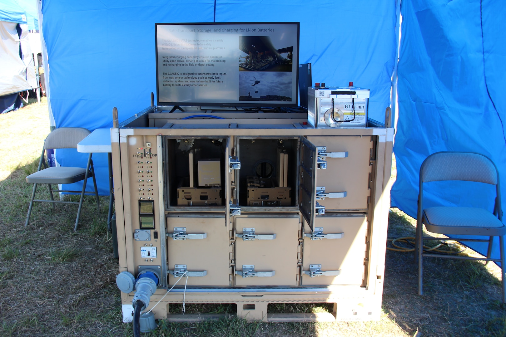 Carderock's Charging-Capable Li-ion Autonomous Safe Storage Interservice Container demonstration station at the 2021 Naval Integration in Contested Environments Advanced Naval Technology Exercise on April 12 in Camp Lejeune, N.C.