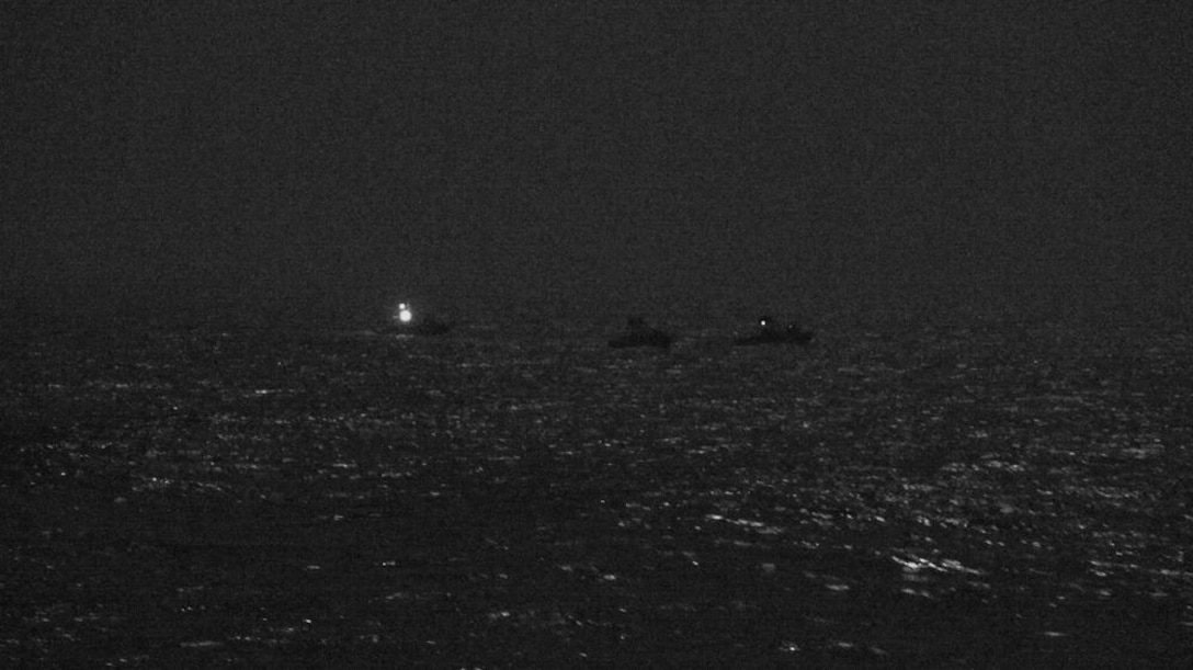 ARABIAN GULF (April 26, 2021) Three Iranian Islamic Revolutionary Guard Corps Navy (IRGCN) fast inshore attack craft (FIAC) approach the U.S. Coast Guard patrol boat USCGC Baranof (WPB 1318) and patrol coastal ship USS Firebolt (PC 10), while the U.S. vessels were conducting routine maritime security patrols in the international waters of the North Arabian Gulf, April 26. Firebolt is assigned to U.S. Naval Forces Central Command's Task Force (TF) 55 and Baranof is assigned to Patrol Forces Southwest Asia (PATFORSWA), the largest U.S. Coast Guard unit outside the United States, and operates under TF 55. (U.S. Navy Photo)