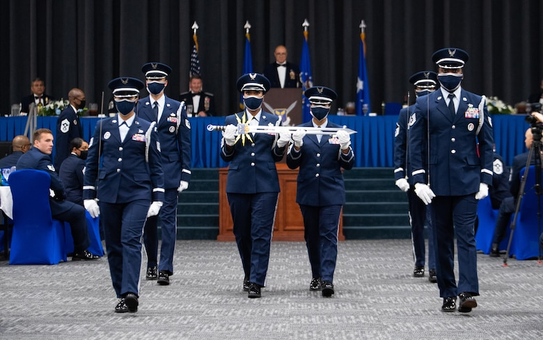Barksdale's honor guard presents the ceremonious sword used in the Order of the Sword ceremony honoring retired Gen. Robin Rand, former Air Force Global Strike Command commander, at Barksdale Air Force Base, Louisiana, April 23, 2021. The ceremonial presentation was adopted from the Royal Order of the Sword and passed to the United States during the Revolutionary War. However, it lay dormant until it was reinstituted in its current form in 1967. (U.S. Air Force photo by Airman 1st Class Jacob B. Wrightsman)