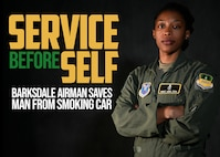This graphic was created in conjunction with an article about Master Sgt. Kira Cox, 2nd Operational Medical Readiness Squadron human performance flight chief, and her efforts saving an injured man from a smoking car. (U.S. Air Force graphic by Airman 1st Class Jacob B. Wrightsman)