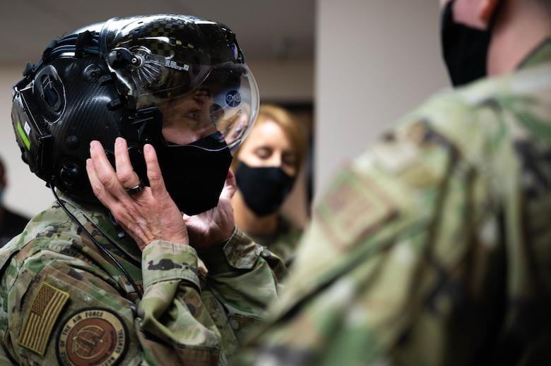 U.S. Air Force Lt. Gen. Dorothy A. Hogg, Air Force Surgeon General, wears an F-35A helmet mounted display during a leadership visit at Eielson Air Force Base, Alaska, April 27, 2021.
