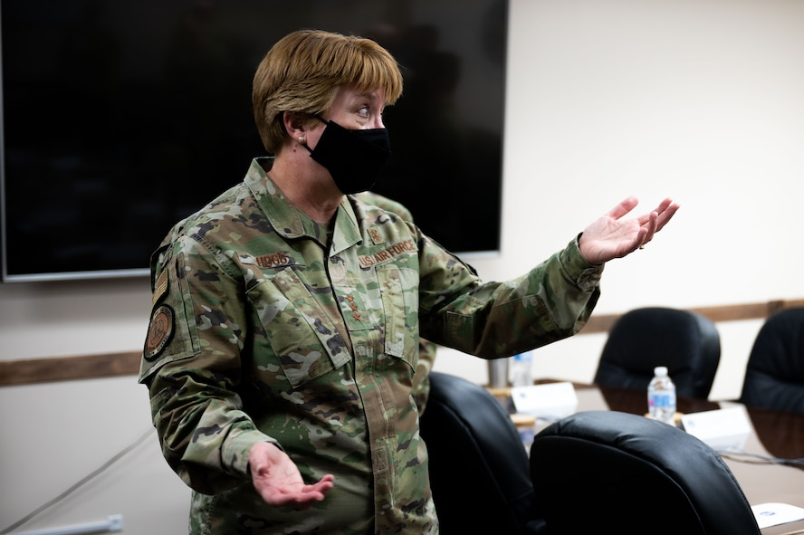 U.S. Air Force Lt. Gen. Dorothy A. Hogg, Air Force Surgeon General, talks to Airmen from the 354th Medical Group during a leadership visit at Eielson Air Force Base, Alaska, April 27, 2021.