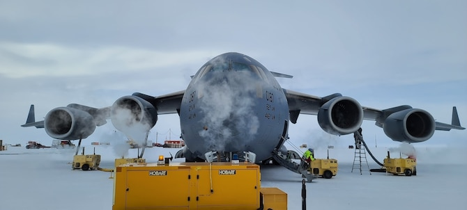A C-17 Globemaster III, assigned to the 62nd Airlift Wing at Joint Base Lewis-McChord, Washington, sits at McMurdo Station in Antarctica in support of Operation Deep Freeze. ODF is unlike any other U.S. military operation. It is one of the military's most difficult peacetime missions due to the harsh Antarctic environment. The U.S. military is uniquely equipped and trained to operate in such an austere environment and has therefore provided support to the USAP since 1955. (U.S. Air Force photo by Maj. Tyler Boyd)
