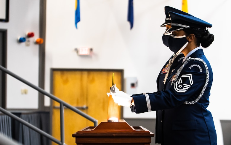 Airmen from Barksdale's honor guard present the ceremonious sword used in the Order of the Sword ceremony honoring retired Gen. Robin Rand, former Air Force Global Strike Command commander, at Barksdale Air Force Base, Louisiana, April 23, 2021. The ceremonial presentation was adopted from the Royal Order of the Sword and passed to the United States during the Revolutionary War. However, it lay dormant until it was reinstituted in its current form in 1967. (U.S. Air Force photo by Airman 1st Class Jacob B. Wrightsman)