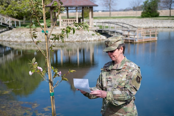 Col. Gretchen Wiltse, 434th Mission Support Group commander, speaks during a tree planting ceremony held here April 23, 2021. Grissom planted a cherry tree to celebrate Arbor Day. (U.S. Air Force photo/Douglas Hays)