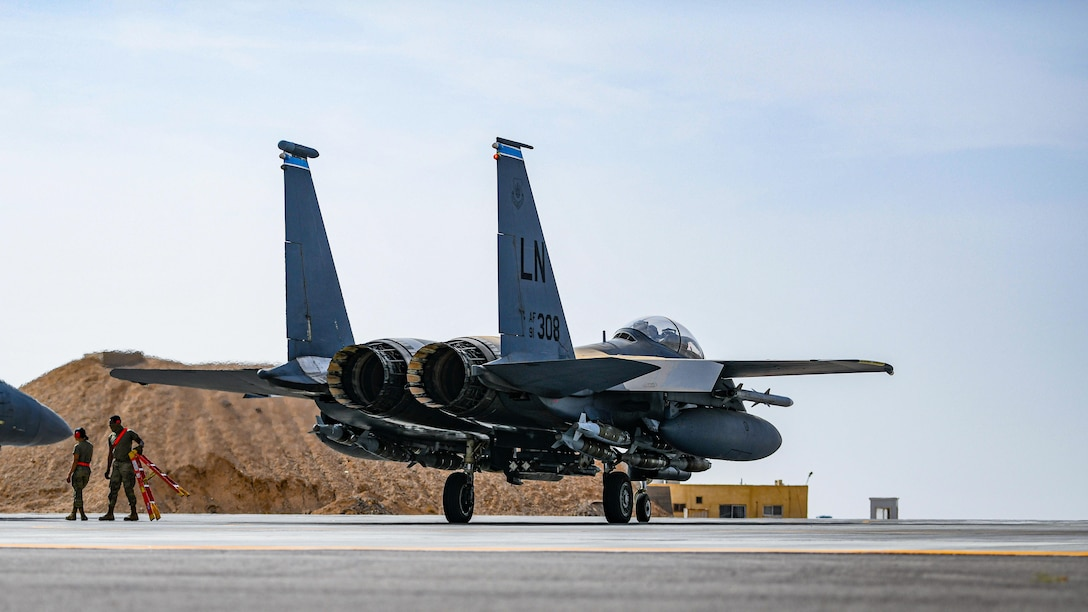 The 332 Air Expeditionary Wing blazed new trails when they configured six F-15E Strike Eagles to carry extra bombs to bare base locations, taking off from an undisclosed location 25 April 2021. This new configuration is allowing the Air Force to increase combat capabilities, by carrying more munitions than the Strike Eagle can use on one mission, to a forward operating base.