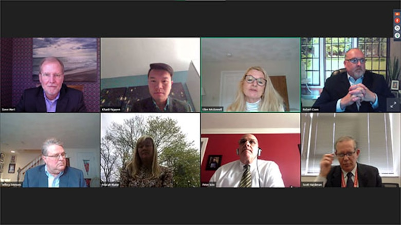 Screenshot of members of a virtual Small Business Panel discussing ways companies can work with the Air Force