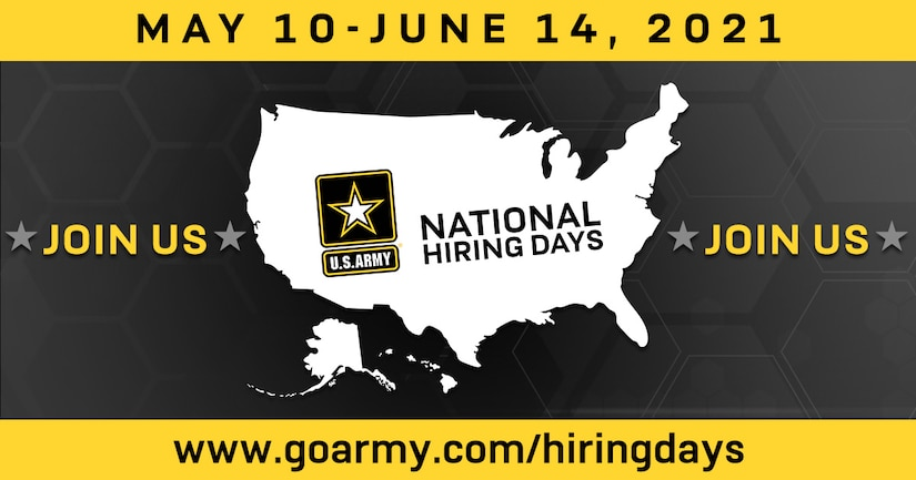Graphic with a logo and dates for army national hiring days.