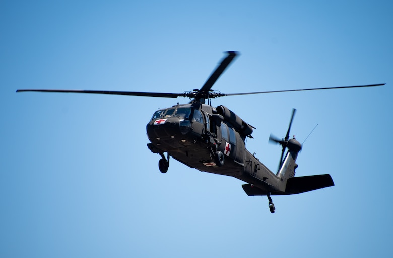 Airmen from the 152nd Medical Group joined forces with the Nevada Army National Guard in Stead, Nev. on April 10, 2021. The Airmen practiced hot and cold loading litter training exercises with UH-60 Black Hawk aircraft.