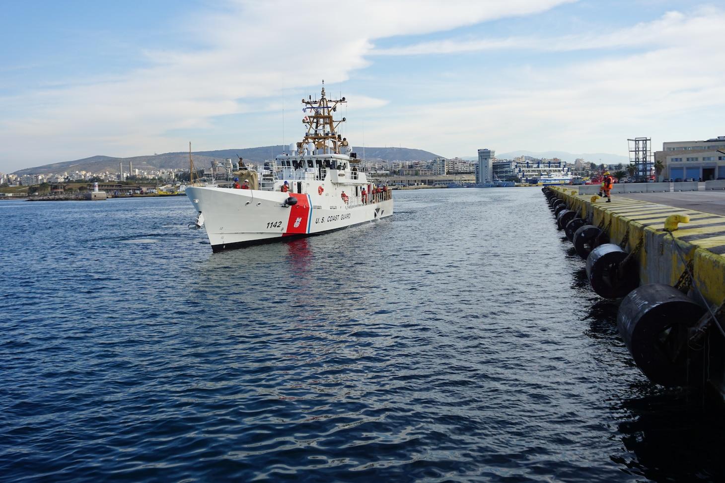 USCGC Robert Goldman (WPC 1142) arrives in Athens, Greece on April 26, 2021.