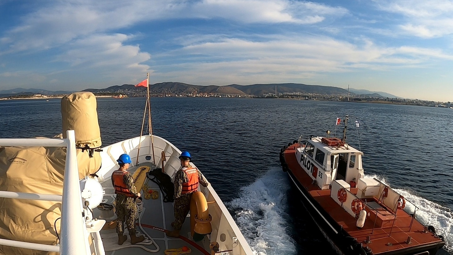 USCGC Charles Moulthrope (WPC 1141) arrives in Athens, Greece on April 26, 2021.