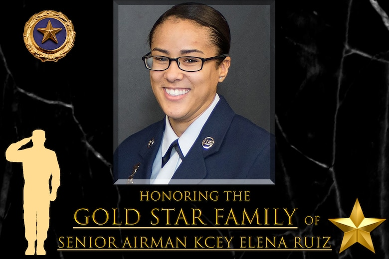 """Graphic says """"honoring Gold Star Family Senior Airman Kcey Elena Ruiz"""" and has her official photo."""