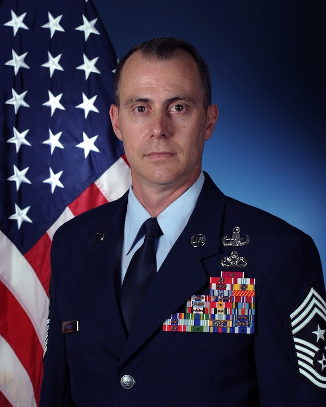 Chief Master Sgt. Brion P. Blais, U.S. Air Forces in Europe and Air Forces Africa command chief, official photo.