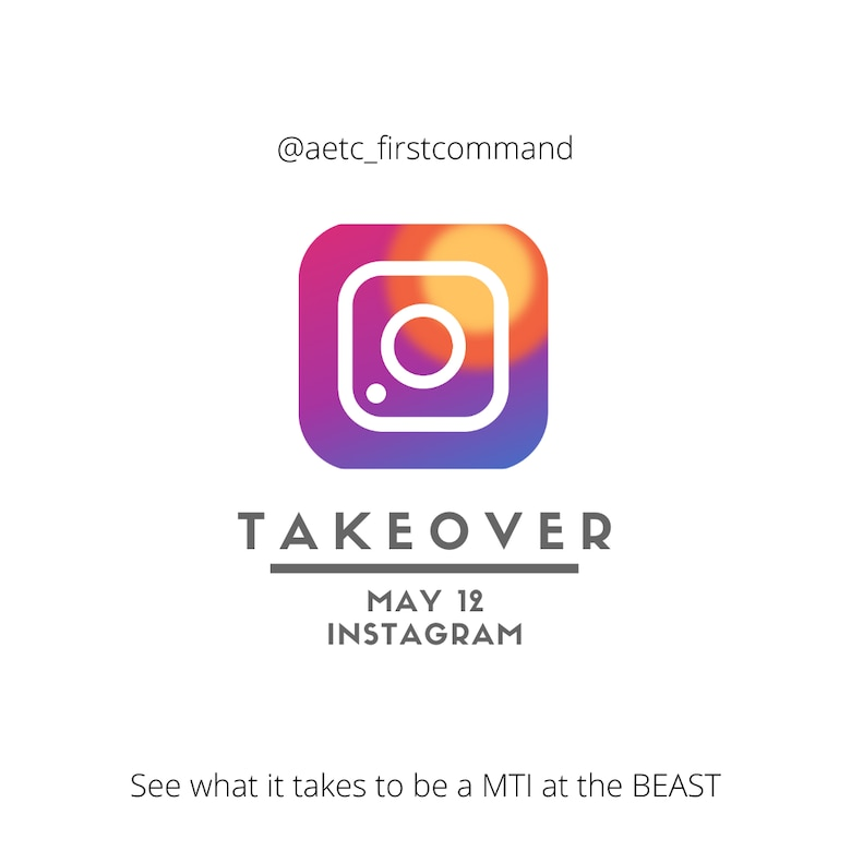 Graphic publicizing Instagram Takeover May 12.