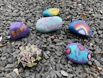 Painted rocks at Brooke Army Medical Center.