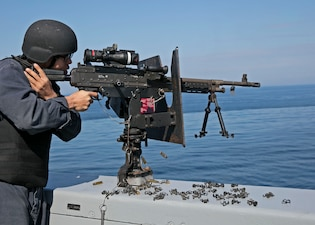 USS San Antonio (LPD 17) conducts a live-fire exercise.