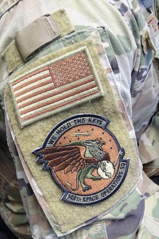 Photo of unit patch on uniform