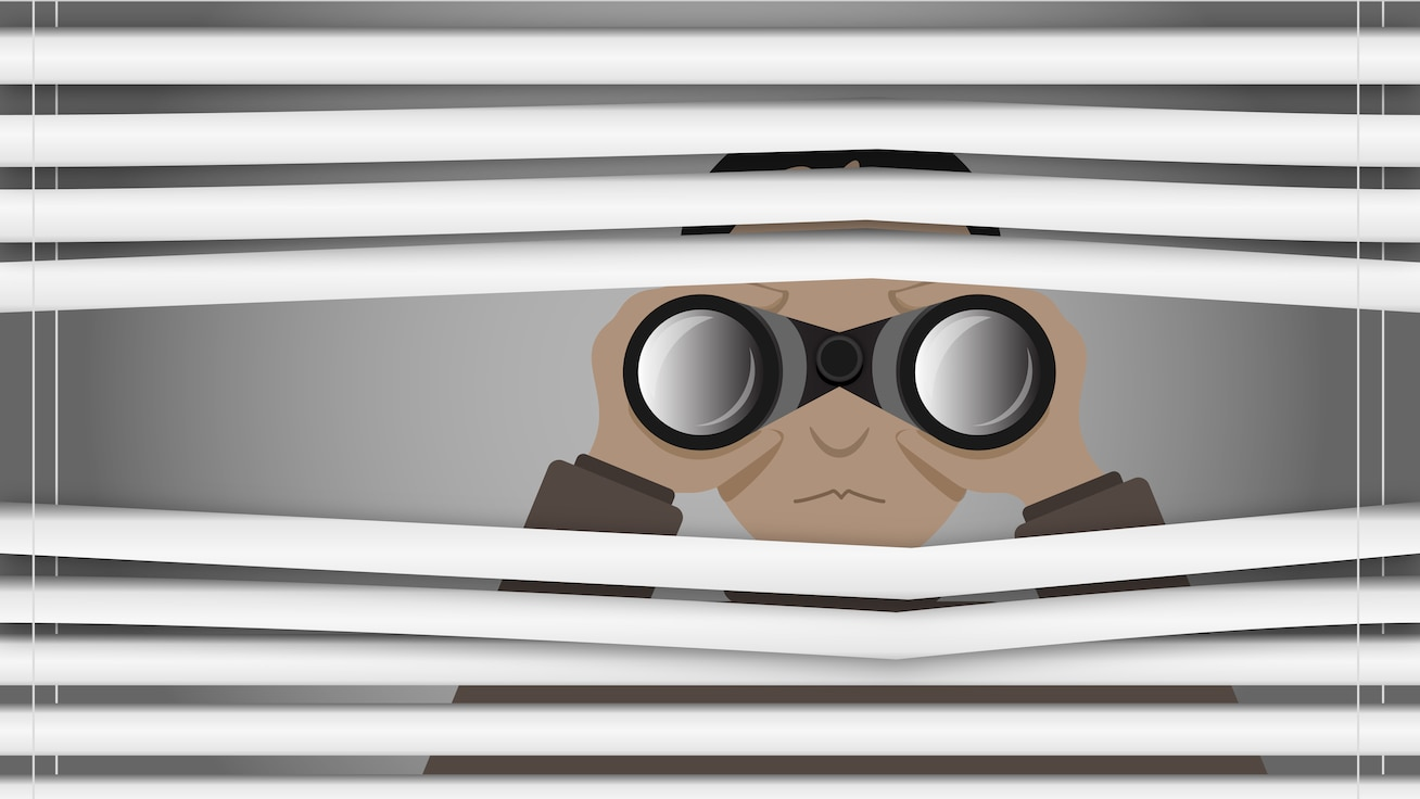Confidential informant concept illustration. Person using binoculars to look through blinds.