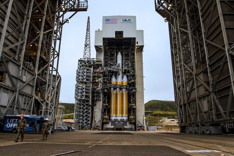 The National Reconnaissance Office Launch-82 vehicle, supported by Delta IV Heavy rockets, stands tall at Space Launch Complex-6 on Vandenberg Air Force Base, California, April 25, 2021. The NROL-82 supports the NRO's overall national security mission to provide intelligence data to U.S. senior policy makers, the intelligence community and the Department of Defense. (U.S. Space Force photo by Staff Sgt. Luke Kitterman)