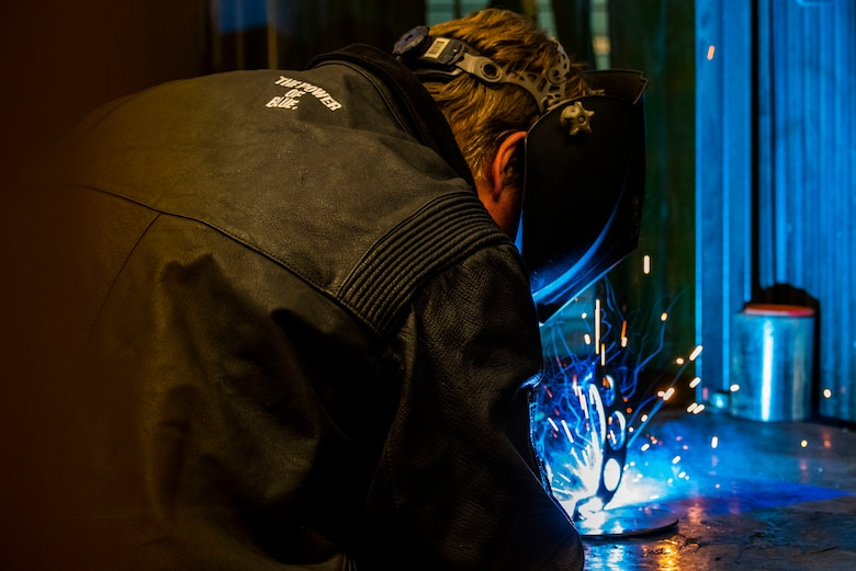 Travis Harris, 583rd Missile Maintenance Squadron shop mechanic, welds two pieces of metal together April 20, 2021 at Malmstrom Air Force Base, Mont.