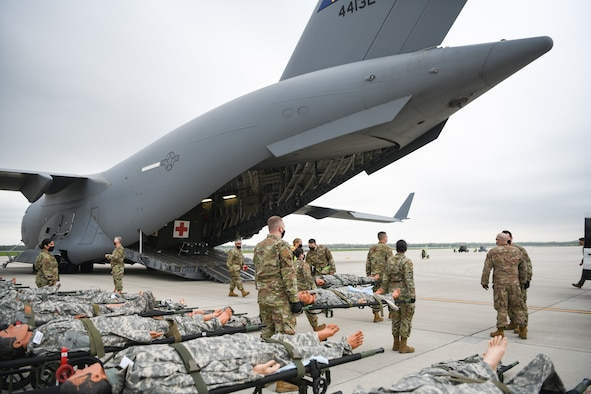 "Medical personnel from Wright-Patterson Air Force Base, Ohio transport ""patients"" during the annual Exercise Ultimate Caduceus April 28, 2021."