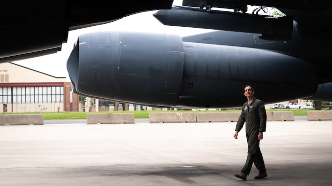 Capt. Blake Morgan, United States Air Force Test Pilot School student, performs preflight inspections on the B-52H Stratofortress at Barksdale Air Force Base, Louisiana, April 28, 2021.