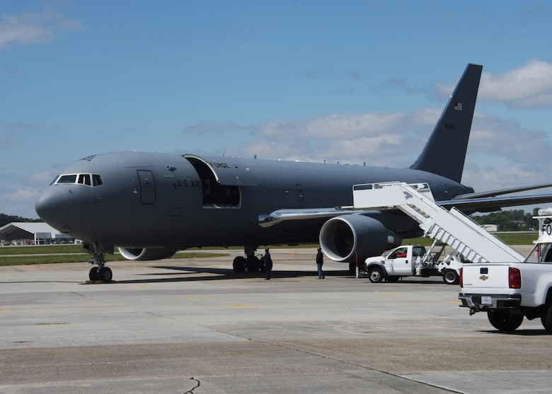 A KC-46A Pegasus from the 916th Air Refueling Wing, flown by the 77th Air Refueling Squadron, landed at Dobbins Air Reserve Base, Ga, on April 21, 2021. The tanker was flown in to allow aeromedical Airmen from across the Air Force Reserve the opportunity to familiarize and train on the new airframe. (U.S. Air Force photo by Tech. Sgt. Miles Wilson)